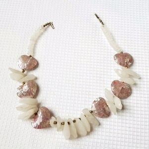 Jewelry - Handmade Iridescent PINK Stone Hearts Necklace